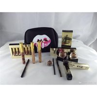 Wholesale Brush Bundle - Kylie Holiday Golden Box Gloss Suits Makeup Gift Box Bag Birthday Collection Cosmetics Bundle Bronze Kyliner Copper Creme Shadow Brow Brush