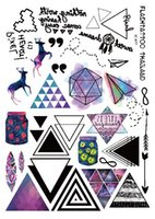Wholesale Sexy Cartoon Tattoos - Wholesale- 2017new waterproof temporary tattoo and sexy chest, female tattoo, sexy tattoo fashion colors geometry cartoon decals