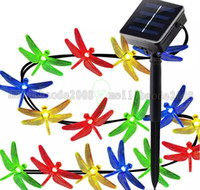 Wholesale Solar Dragonflies - NEW Dragonfly Solar String Lights, 16ft 20 LED 8 Modes Waterproof Fairy Ligh free shipping MYY