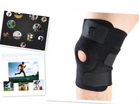 Wholesale Open Knee Patella Support - Outdoor Sports Open Knee Patella Support Sleeve Stabilizer Splint Protector Climbing Adjustable Knee Pad Brace Black (Color: Black Blue )
