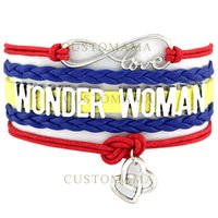 Wholesale Double Heart Cord - Custom-New Infinity Love Wonder Woman Double Heart Charm Bracelet Wax Cords Wrap Braided Leather Adjustable Bracelet Bangles-Drop Shipping