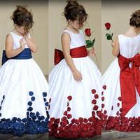 Wholesale Ribbon Flower Appliques - 2017 Flower Girl Dresses Jewel Neck Appliques Cap Sleeves Ribbon Floor Length Appliques Lace Girls Pageant Gowns