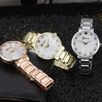 Wholesale Geneva Heart - Gold silver metal fashion watch Geneva heart alloy watch Stainless steel ladies quartz wrist watches Diamond luxury dress watch