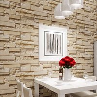 Wholesale waterproofing stone walls - Wholesale- Luxury Stone Brick Wall 10M Vinyl Wallpaper Roll papel de parede 3D Living Room Background Wall Decor Art Wall Paper