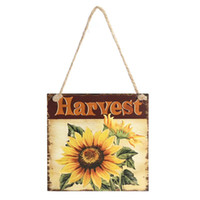 Wholesale Wooden Plaques Wholesale - Happy Harvest Sign Door Hanger Wall Decorations Thanksgiving Wooden Oil Paintings Hanging Plaque Party Decor Photobooth Props