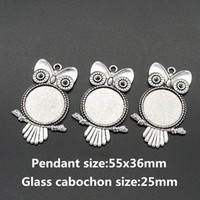 Wholesale 25mm Silver Tray - Wholesale- BL0072 Owl Antique Silver Necklace Pendant Setting Cabochon Cameo Base Tray Bezel Blank Fit 25mm glass cabochon
