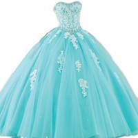 aqua tulle prom kleider großhandel-Erstaunliche aqua blau türkis quinceanera kleider geschwollene ballkleid kristalle spitzenapplikationen tüll prom partykleider fegen 16 kleider nach maß