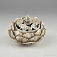 Wholesale Vintage Metal Fans - Chinese Silver Vintage Hand Hammered Old Flower Incense Burner