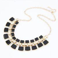 Wholesale Locket Bohemian Enamel - 2017 New Arrival Fashion Jewelry Trendy Women Necklaces & Pendants Link Chain Statement Necklace Alloy Enamel Square Pendant