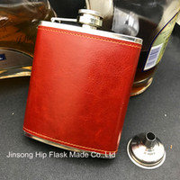 Wholesale Mini Flask Oz - 7 oz borwn leather wrapped stainless steel hip flask with free funnel