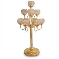Wholesale Wholesale Table Centrepieces - elegant new 10 arms candelabra wedding centrepiece gold candelabra with crystal ball candelabras for wedding table decoration centerpieces