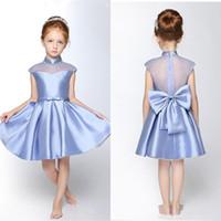 ingrosso vestito blu dall'alto del collo del bambino-New Light Blue Collo alto Baby Girl Principessa Abiti da festa Perline Al ginocchio Abiti da ragazza a fiori