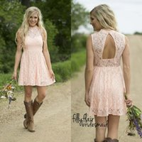 Wholesale Nude Sequin Mini Dress - Hot Sale 2016 Nude Pink Full Lace Short Western Country Bridesmaid Dresses Cheap Crew Neck Cut Out Back Maid Of Honor Gowns EF4078