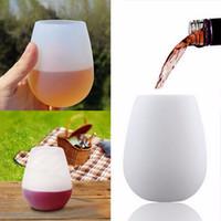beyaz cam kadehler toptan satış-1 Adet Beyaz Silikon Bira Bardak Katlanabilir Silikon Şarap Gözlük Kırılmaz Katlanabilir Stemless Bira Viski Cam Drinkware Hediye