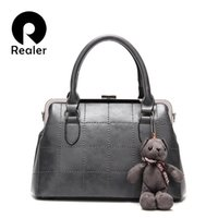 Wholesale Grey Teddy Bears - Wholesale- Realer Famous Brand Handbag 2016 New Women Fashion Diamond Tote Bag High Quality Messenger Bags With Teddy Bears