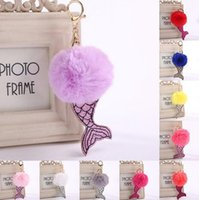 Wholesale Trendy Wholesale Handbags - Mermaid Faux Rabbit Fur Key Buckle Car Keyring Mermaid Sequins Keychain Xmas Gift Handbag Decor 12 Colors LJJO3479