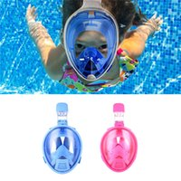 Wholesale Child Swim Snorkel - Kids Full Face Mask Safe Snorkeling Scuba Watersport Underwater Diving Swimming Snorkel Anti Fog Full-face Children Full Dry Diving Mask