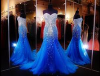 Wholesale Cheap Blue Womens Dresses - 2017 Hot Royal Blue Mermaid Prom Dresses Beaded Sweetheart Neck Tulle Formal Gowns Floor Length Runway Evening Gowns For Womens Cheap