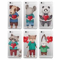 iphone 5s hüllen tierhund großhandel-Herzen tiere panda hund waschbär fox bunny maus winter telefon case coque für iphone 7 plus 6 plus 6 6 s 5 5 s se x samsung s8 s8p