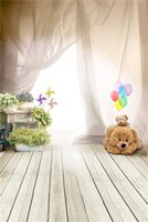 Wholesale children computer toys resale online - Indoor Baby Room Backdrop Photography Bright Light Soft Curtain Toy Bear Colorful Balloons Kids Children Photo Background Wood Planks Floor