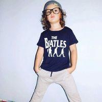 Wholesale beatles style - The Beatles Boy Clothes Sets Baby Black T-Shirt Long Pants Suit 100% Cotton Summer Clothing For Boy Outfits Fashion Children Tops Trouser