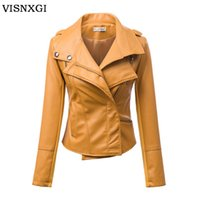 Wholesale Ladies Sexy Leather Jacket - Wholesale- Fashion Style Ladies Faux Leather Sexy Short Women's Motorcycle Leather Jacket Zipper Design Motorcycle PU Outerwear Female S244