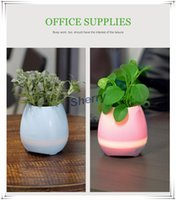 Wholesale Office Mobile - Music Flower Pot Smart Bluetooth Speaker Music Green Plant Home Office Decoration Green Plant Music Vase Touch Induction Creative DHL