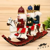 Carved carved nutcracker - The new cm rocking horse Nutcracker puppet rocking horse soldier Home Furnishing ornaments ornaments bar birthday gift
