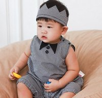 Wholesale Toddler Hair Ties - Presell Summer Baby Girls Boys Romper 2017 New Toddler Onesies Cute Bow Tie Plaid Rompers With Hair Band Headband Infant Jumpsuit A5978