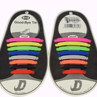 резиновые сапоги оптовых-Мода унисекс шнурки эластичные силиконовые галстуки обуви 8 цветов ленивый шнурки подходит плоские шнурки DHL Бесплатная доставка