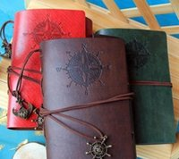 Wholesale Leather Travel Journal - Vintage Leather Travel Journal Notebook Anchor Rudder Decoration Notebook