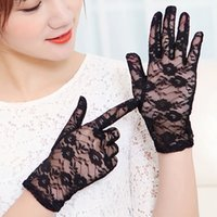Wholesale Sexy Wedding Gloves - Black floral car sexy lace sun gloves lady driving glove summer short sun protector wedding favors