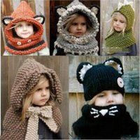 Wholesale Hot Cartoons Fox - European and American hot sale fox dinosaur warm cap autumn and winter round neck wool knit cape cap baby children's cartoon hat