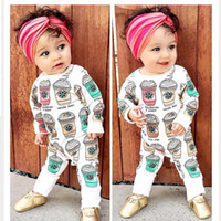 Wholesale Autumn Coffee - Spring Baby Rompers 2016 Baby Girls Boys Coffee Cups Romper Cotton One Piece Jumpsuits Children Clothes JY0283
