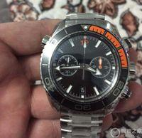 Wholesale Mens Large Dial Watch - Luxury Brand Stainless Steel Mens watch Large 45.5mm Quartz Chronogra Balck and Orange bezel Black Dial Luminous Folding buckle Man watches