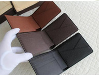 Wholesale Cowhide Box - 2016 Mens Brand Leather brown white checked Genuine Leather Wallet Purse Wallet Men Wallet Cowhide with box free Epacket shipping