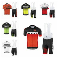 Wholesale Scott Cycling Bib Shorts Gel - Hot Sale 2017 Scott Cycling Jerseys Set Short Sleeves With White Bib Gel Padded Trousers Summer Style For Men Size XS-4XL 6 Colors