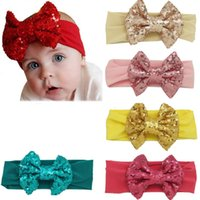 Wholesale Brown Headband Elastic - Hair Cotton Silk Headband With Solid Sequin Hair Bow For Beautiful Kids Toddle Girl DIY Elastic Hair Band