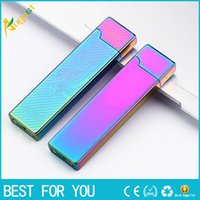 Wholesale double lighter - New hot 2016 JL 803 Creative USB charging ultra-thin windproof lighters Double-sided cigar lighter USB lighter electronic cigarette lighter