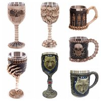 Wholesale Cool Skull Designs - 19 Designs Creative 3D Skull Wolf Mug Funny Coffee Cups Cool Resin Stainless Steel Pirate Knight Drinking Grip Drinkware CCA6471 48pcs
