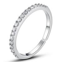 anillos de las muchachas dedo tamaño al por mayor-Formas del anillo de bodas Anillos de plata de la venda del diamante Venta caliente Cristal Anillos de compromiso Dedo para el partido de la muchacha de las mujeres Joyería abierta del tamaño al por mayor DHL
