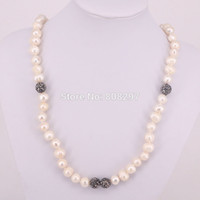 Wholesale Amethyst Freshwater Pearl Necklace - 5 Strands Natural Freshwater pearl beaded necklace,natural pearl jewlery beaded necklace Fashion Jewelry For Women