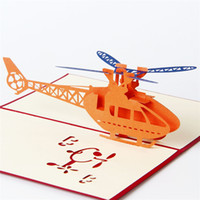 Wholesale Greet Model - 10pcs lot Creative 3D Whirlybird Model Greeting&Gift Christmas Birthday Cards 3D Pop UP Card Laser Cut Wedding Invitations