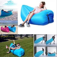 Wholesale 240 cm Inflatable Lazy Bag Air Banana Sofa T Nylon Laybag Air Sleeping Bag Camping Portable Beach Bed Lazy Bag Air Lounger