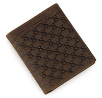 Wholesale Crazy Flowers - Genuine Crazy Horse Leather Flower Embossed Men's Wallet Daily Card Case 8099R