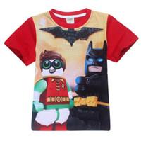 batman tişört çocukları toptan satış-2017 Yaz Erkek T-Shirt Batman Kısa Kollu çocuk T-shirt Karikatür Superman Kahraman Çocuklar En Tees Kızlar T-shirt Elbise