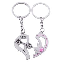 Wholesale Popular Valentine Gifts - 2017 Popular Casual Couple Key Chains Lover Love Broken Heart Keychain Clover I Love You Key Rings Women Jewelry Valentine Gift