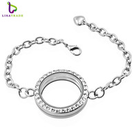 Wholesale Platinum Magnetic - 30mm Silver Round magnetic glass floating locket bracelet Rhinestone Wholesale Fashion Bracelets & Bangles LSLB02