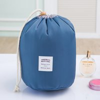 Wholesale Korean Fish Bag - New Korean Elegant Large Capacity Barrel Shaped Nylon Wash Organizer Storage Travel Dresser Pouch Cosmetic Makeup Bag Women