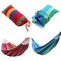 Wholesale Portable Outdoor Hammock Garden Sports Home Travel Camping Swing Canvas Stripe Hang Bed Hammock Red Blue x cm